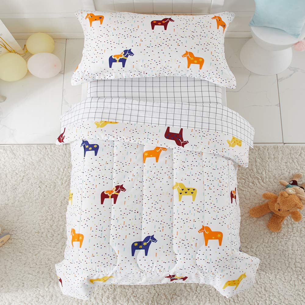 Joyreap 4 Piece Toddler Bedding Set, Colorful Horses Printed, Includes Quilted Comforter, Fitted Sheet, Top Sheet, and Pillow Case for Boys(White, Twin)
