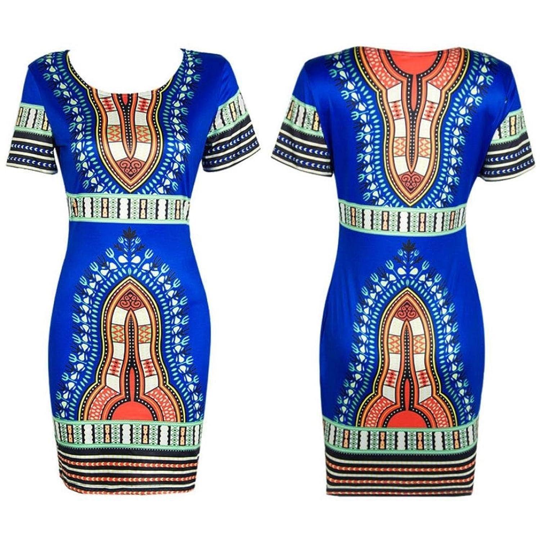 Frauen Kleid,Xinan Frauen Traditionelle afrikanische Druck Dashiki Bodycon kurzärmelige Kleid