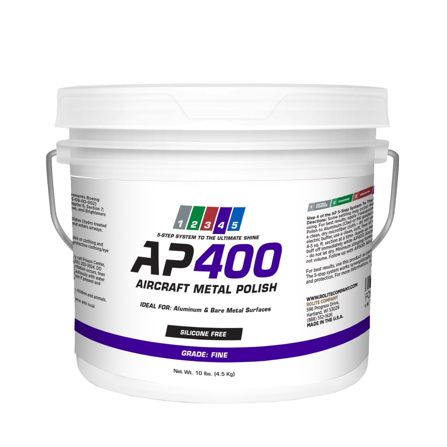AP400 Aircraft Metal Polish (10lb) - Fine - for Airplane Aluminum & Bare Metal Surfaces, Brightwork, Meets Boeing & Airbus Requirements by Rolite (Image #1)