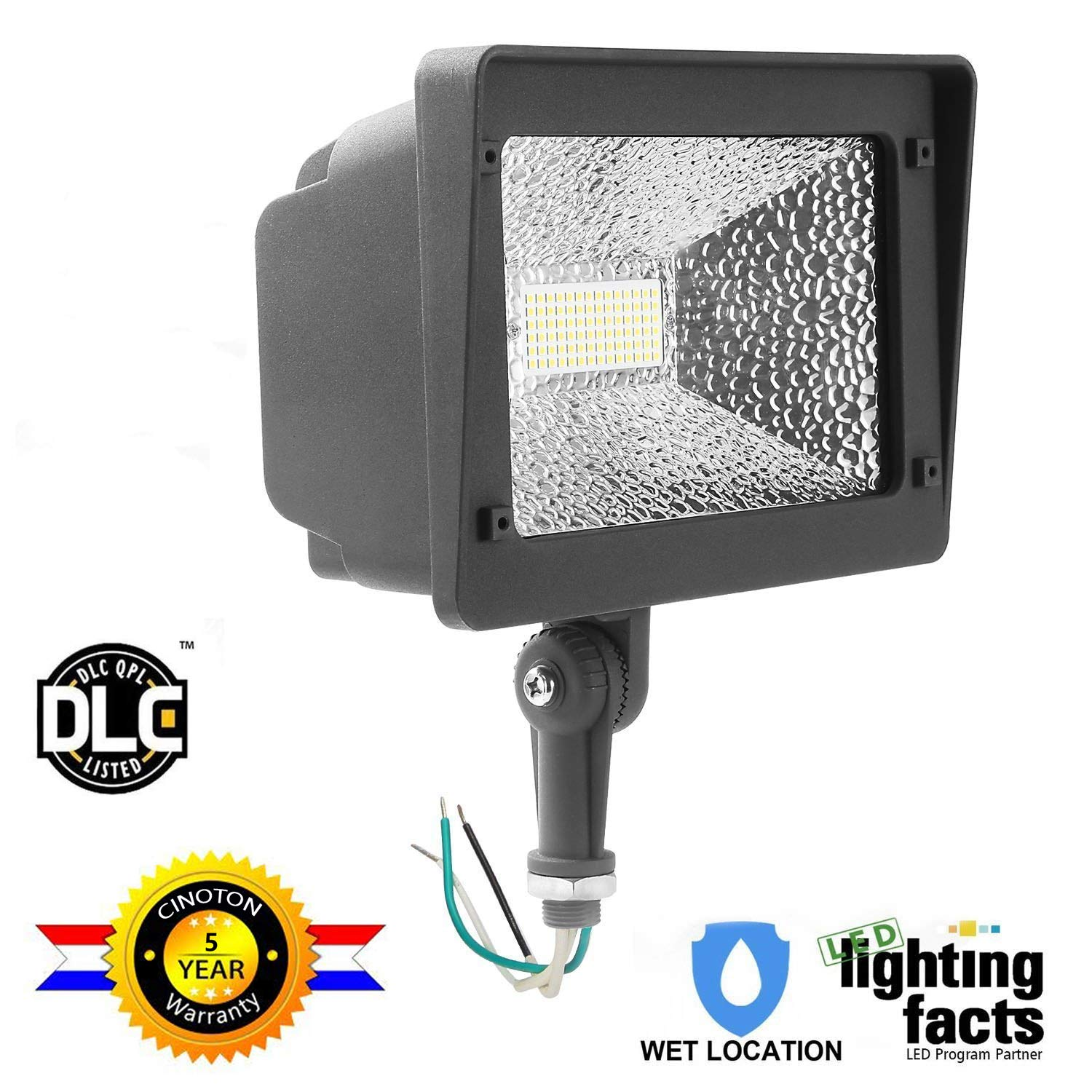 Cinoton LED Flood Light,180°Adjustable Knuckle, 50W Security Outdoor Lighting (250W Equivalent), 5500 Lumen, 5000K (Crystal White Glow), Waterproof, IP65, 100-277v,LED Floodlight for Yard, Garden etc