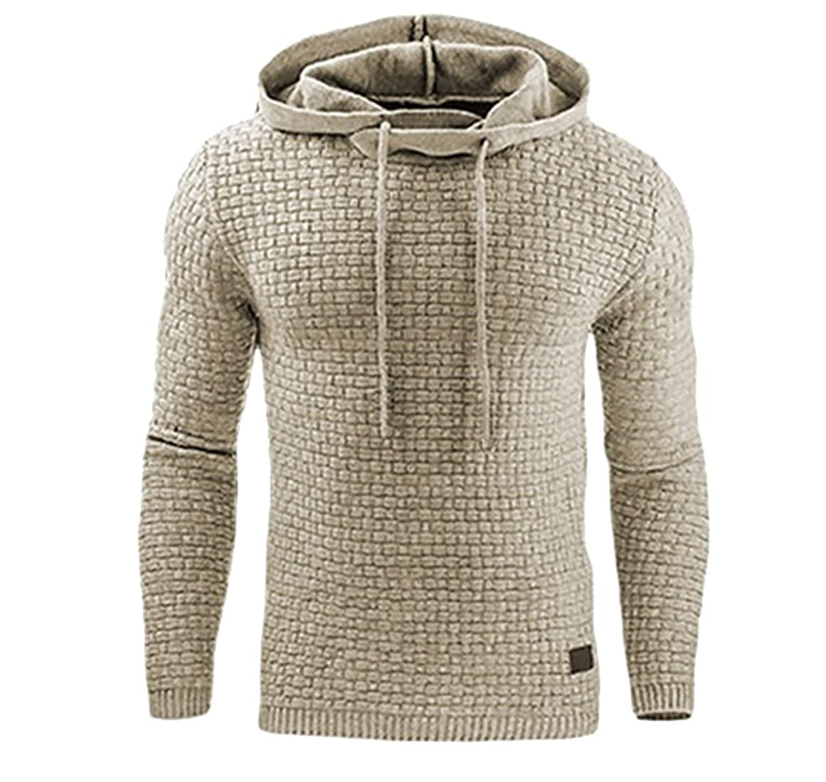 YYG Men Casual Active Solid Plus Size Slim Fit Knitted Pullover Hooded Sweatshirt