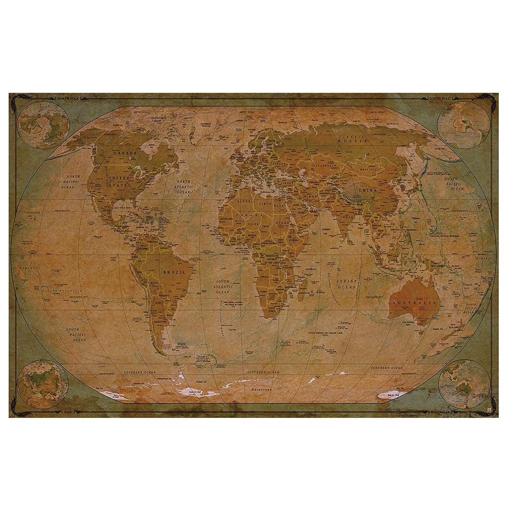 Historical World Map Poster XXL - wall picture decoration globe ...