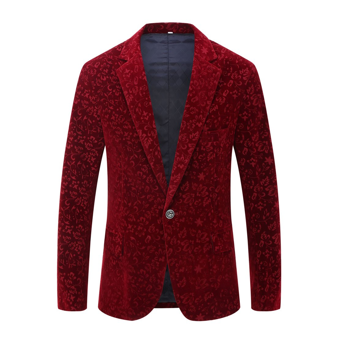CARFFIV Mens Fashion Velvet Blazer Suit Jacket (Flower Velvet, Tag L/US 40R)