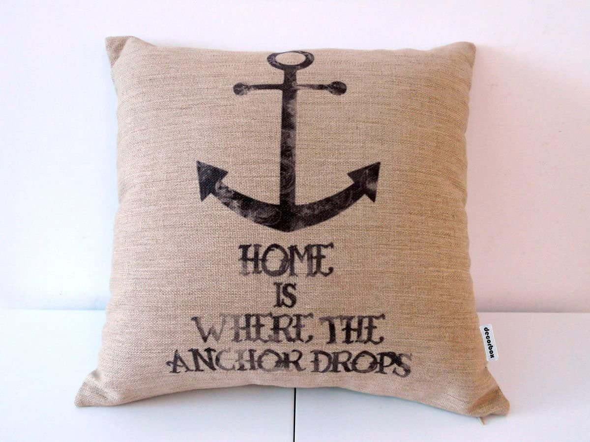 "Decorbox Cotton Linen Square Throw Pillow Case Decorative Cushion Cover Pillowcase for Sofa Vintage Anchor 18 ""X18 """