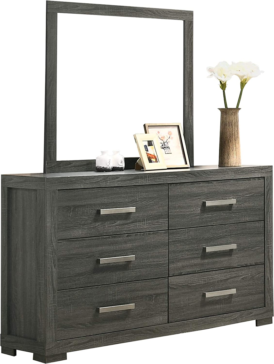 Weathered Gray 2 Nightstands Mirror Best Quality Furniture 6PC California King Bed Dresser Chest