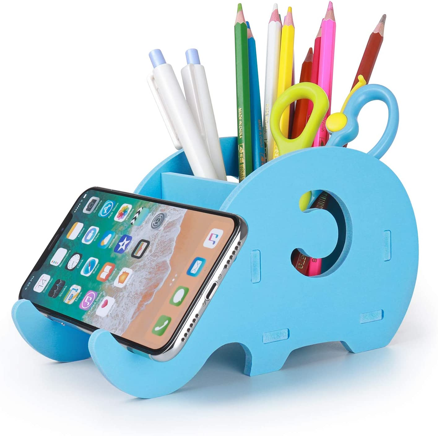 Desk Supplies Organizer, Mokani Cute Elephant Pencil Holder Multifunctional Office Accessories Desk Decoration with Cell Phone Stand Office Supplies Desk Decor Organizer Christmas Gift, Blue