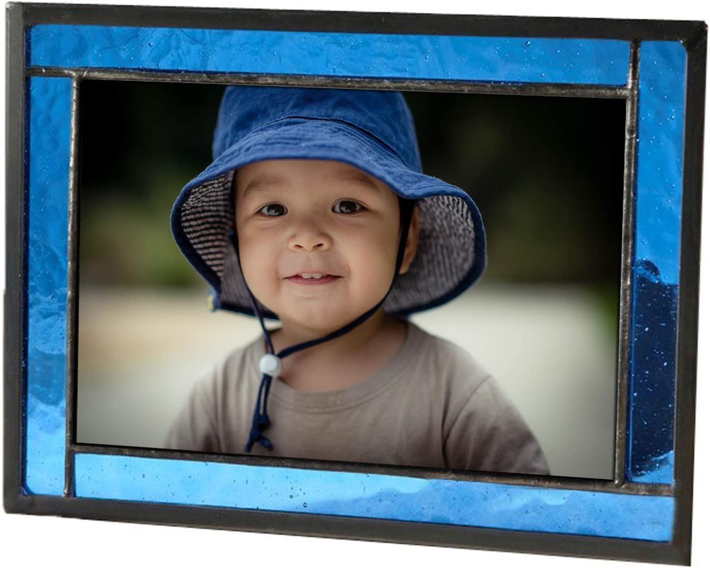 Blue Picture Frame Stained Glass Easel Back 4x6 Photo Display Horizontal Vertical Home Decor Graduation Gift for Women or Men Family Vacation J Devlin Pic 324-46HV
