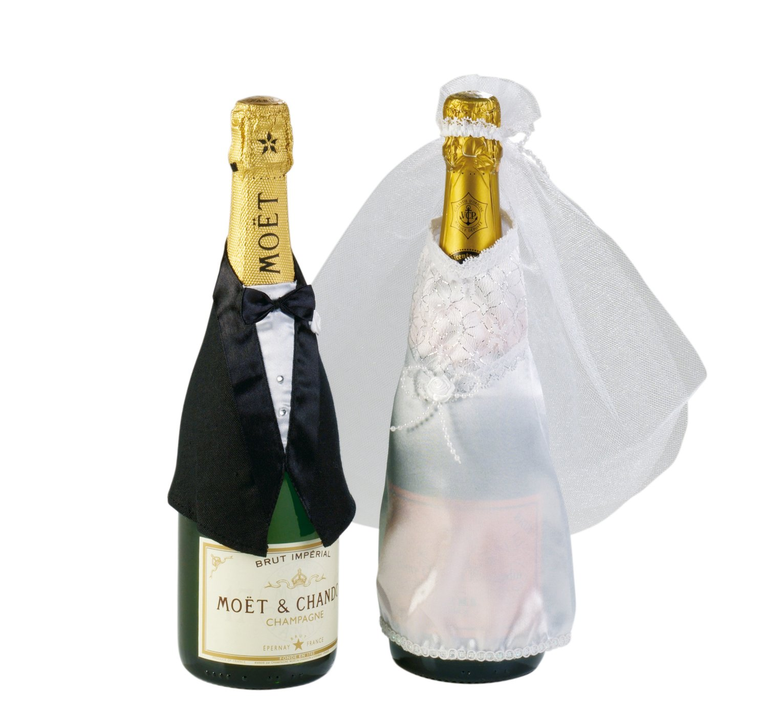 Botellas de Decoración Boda, traje y vestido de novia, 2 piezas