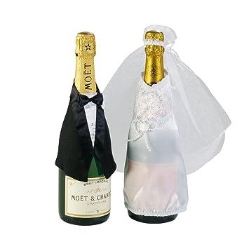Botellas de Decoración Boda, traje y vestido de novia, 2 piezas: Amazon.es: Hogar