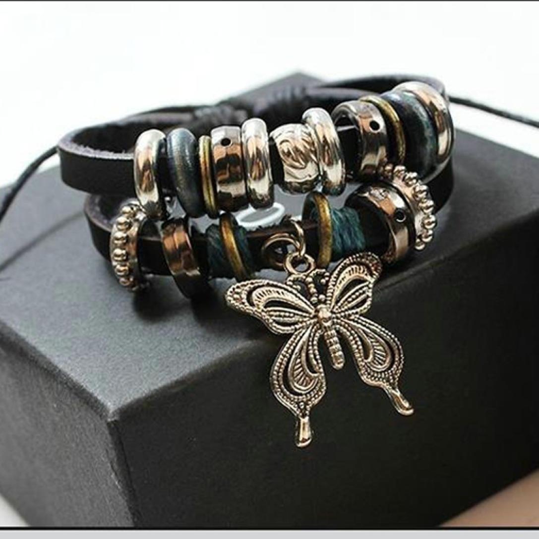 DondPO Vintage Butterfly Multi Beaded Equestrian Alloy Genuine Leather Bracelet