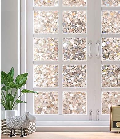 rabbitgoo Fensterfolie 3D Sichtschutzfolie Fenster Statisch Folie 44.5X200CM