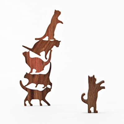 COMMA Wooden Cat Pile Set #2 (Blue Thread, 6 Kittens): Toys & Games