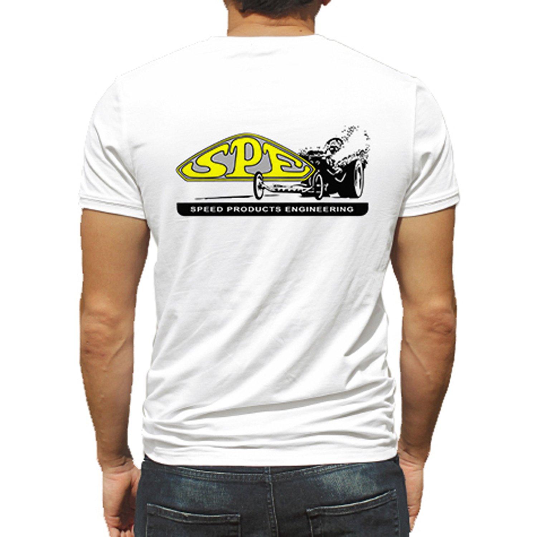 Speed Products Engineering Hot Rod Rat Nostalgia Drag Race Racing NHRA White Short Sleeve Shirt