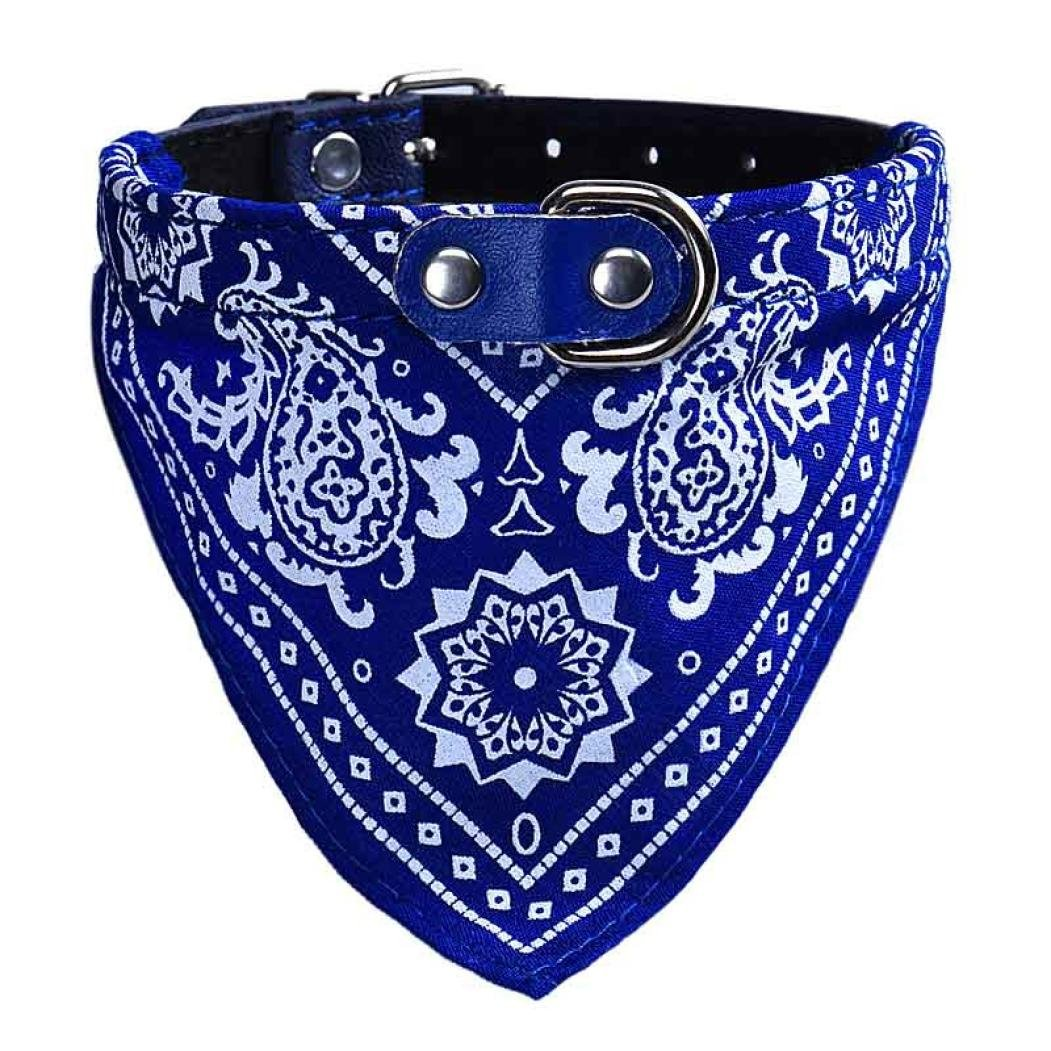 Howstar Pet Neckerchief, Adjustable Puppy Collar Dog Bandana Scarf Doggy Necklace (M, Blue)