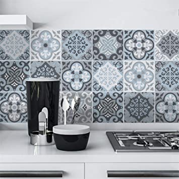 Amazoncom Decorson Blue Grey Vintage Kitchen Bathroom Tile - Blue-bathroom-tile-stickers