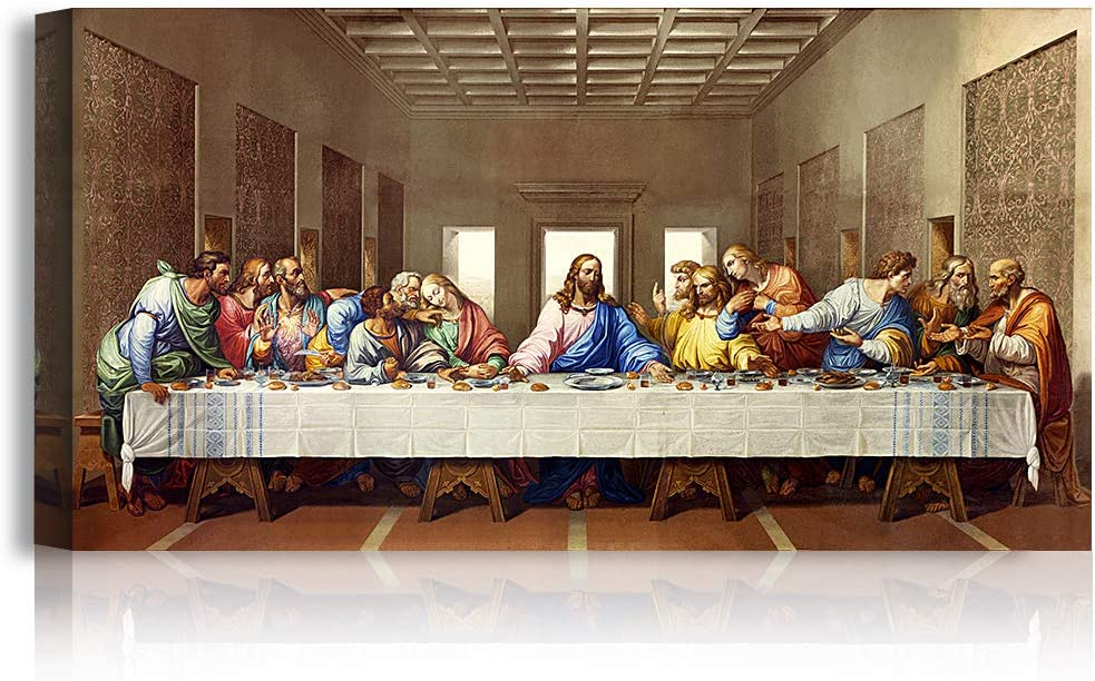 A&T ARTWORK The Last Supper by Leonardo Da Vinci The World Classic Art Reproductions, Giclee Canvas Prints Wall Art for Home Decor, 30x16 inches
