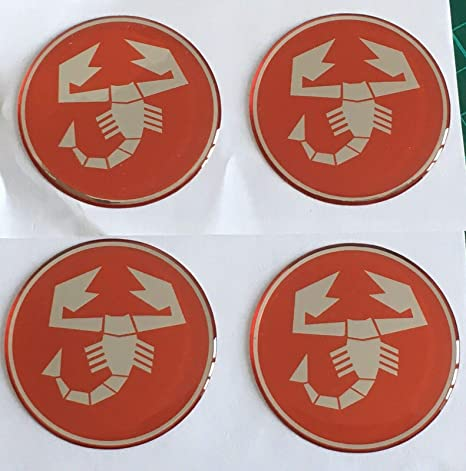 50MM SCOOBY DESIGNS FIAT 500 595 ABARTH ALLOY WHEEL CENTRE CAP STICKERS DOMED X4