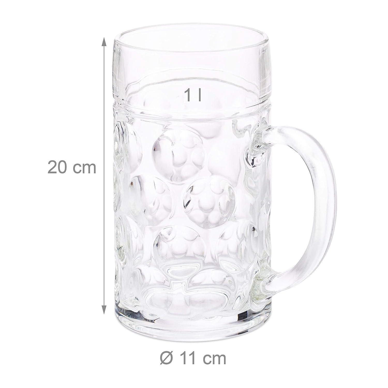 Relaxdays 1 Liter Ma/ßkrug gro/ßer Bierkrug breiter Henkel klar stabiles Glas f/ür 2 Flaschen Wei/ßbier Gastro Standard