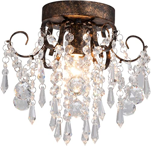Q S Small Crystal Chandelier, Black Ceiling Light, Modern Ceiling Lamp, Flush Mount Crystal Light Fixture for Hallway,Bedroom,Closet,Entryway Dia9.5 .
