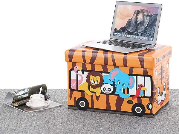 Bus Safari Jungle Keraiz Coffre de Rangement rectangulaire avec Couvercle si/ège