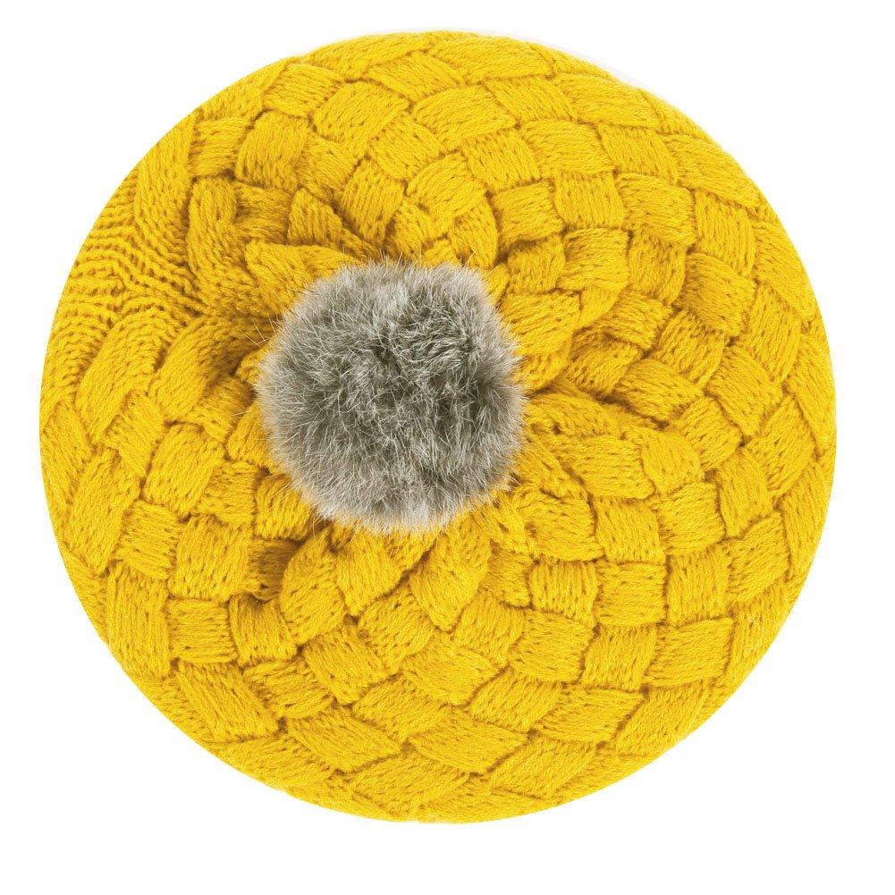 ベビー冬暖かいニットかぎ針編み帽子子供Hairballビーニーキャップ 200.00*100.00*20.00 イエロー 9sm8tc6zj4fm8D02 B0785G1K6K  イエロー