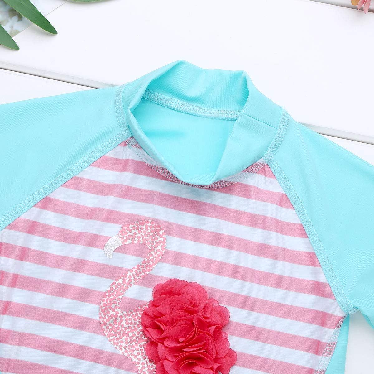 dPois Kids Little Girls 2PCS Long Sleeve Flamingo Stripes Rash Guard Tankini Swimsuit Swimwear Bathing Suit Set