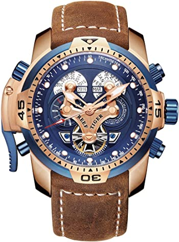Reef Tiger Mens Military Watches Rose Gold Complicated Blue Dial Watch Automatic Sport Watches RGA3503