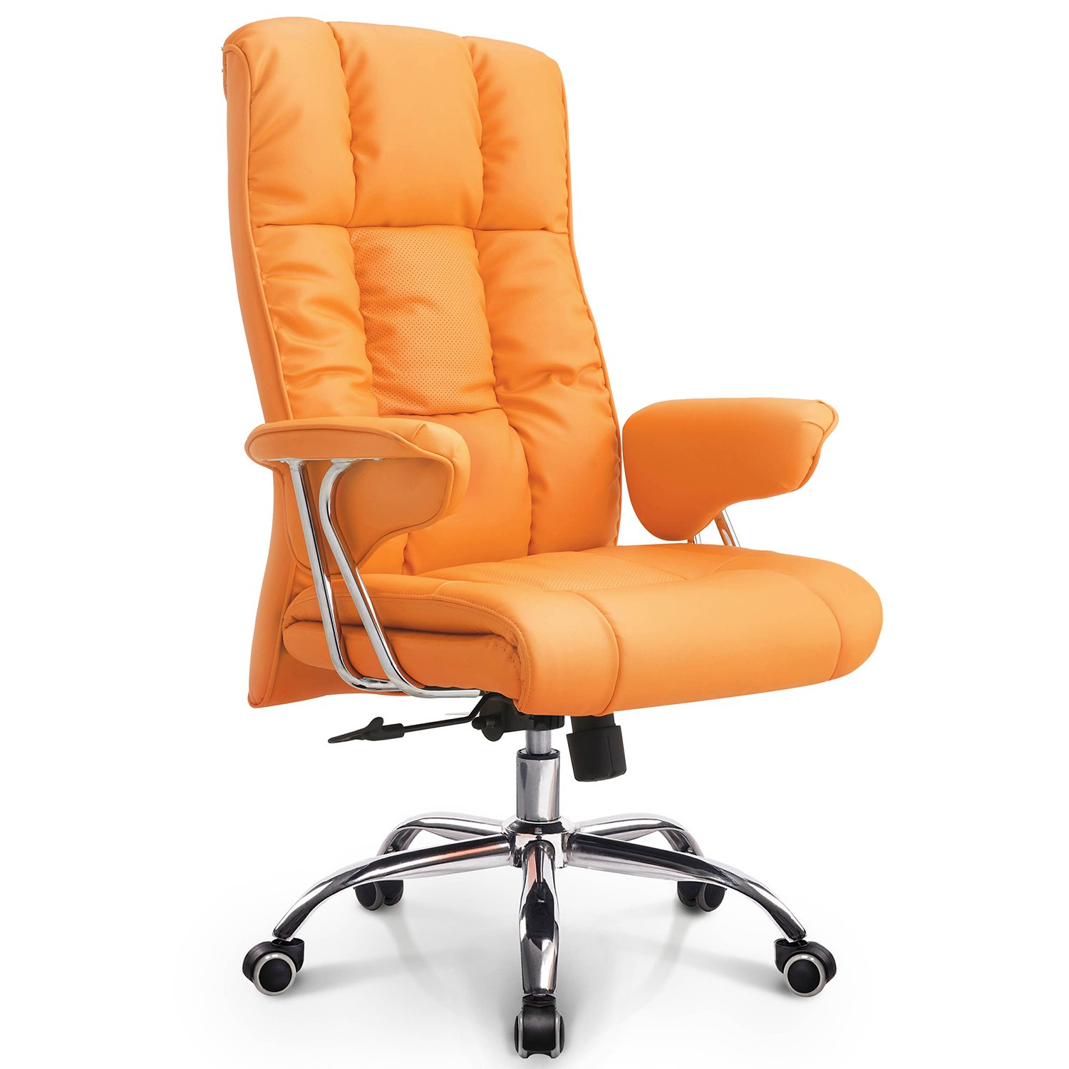 NEO CHAIR Office Chair Computer Desk Chair Gaming - Ergonomic High Back Cushion Lumbar Support with Wheels Comfortable Orange Upholstered Leather Racing Seat Adjustable Swivel Rolling Home Executive