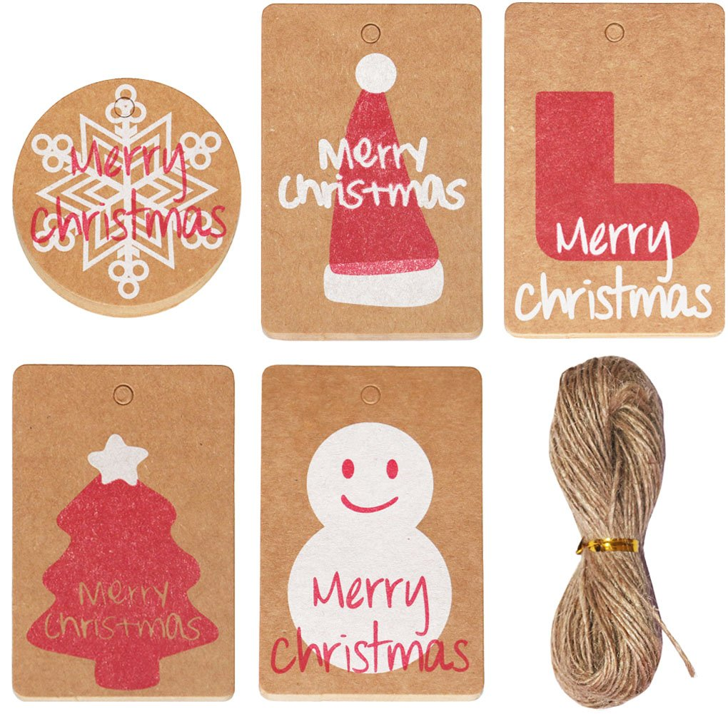SOOKOO 100pcs Kraft Paper Christmas Gift Tags with 20 Meters Twine String for Christmas Present Wrap Cookie Bakery Candy Biscuit Roasting and Label Package Name Card, 5 Styles, 20pcs of Each Style