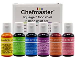 Chefmaster - Neon Liqua-Gel Food Coloring - Fade Resistant Food Coloring - 6 Pack- 20ml Bottles - Stunning, Vivid Colors, Lightweight & Mess Free, Easy-To-Blend Formula