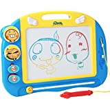 Magnetic Drawing Board for Kids and Toddlers with Stamps and Pen, Erasable Colorful Doodle Board, Preschool Learning and Educational Toy, Portable Magna Doodle Pro for Travel