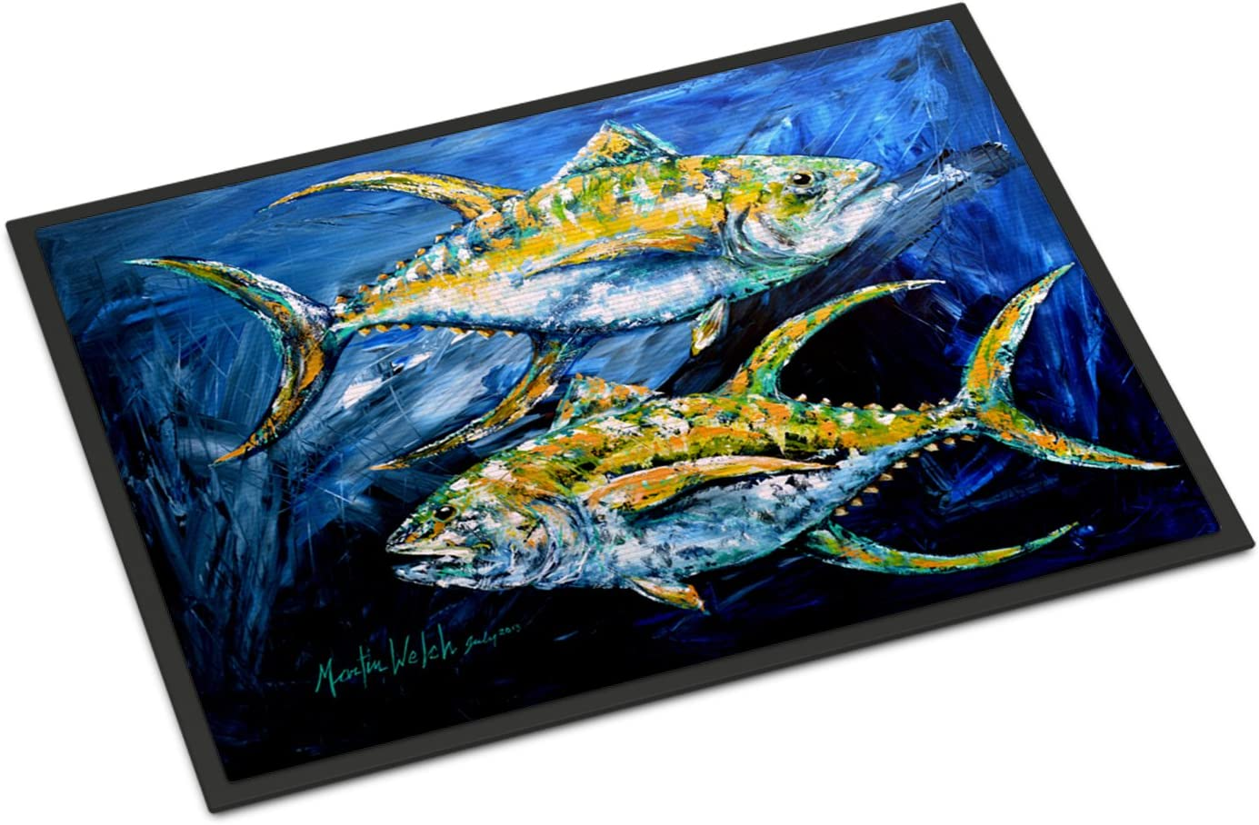 Caroline s Treasures MW1125JMAT Fish – Tuna Tuna Blue Indoor or Outdoor Mat 24×36 Doormat, 24H X 36W, Multicolor