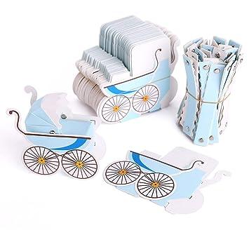 Cajas del Caramelo de la Ducha de Bebé, Lance Home 50 PCS Carrito de Bebé Coche de Regalo Caja de Regalo Bautizo Fiesta de Bienvenida al Bebé Favores ...