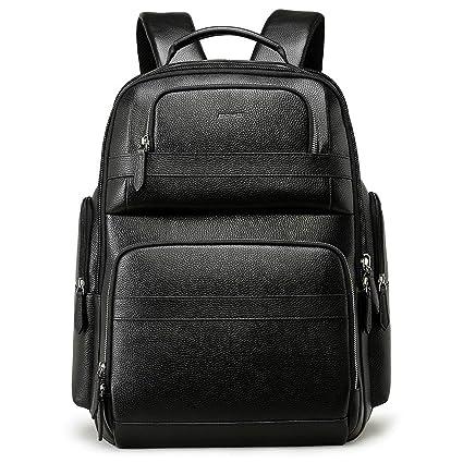 c6f35a4c83 Amazon.com  Bopai 40L Leather Backpack for Men 15.6 inch Laptop ...
