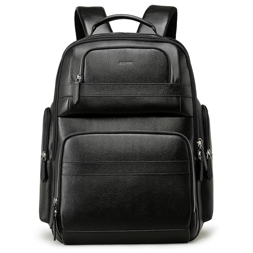 BOPAI リュックサック メンズ 本革 旅行 PCリュック USB充電ポート付き 大容量 ブラック   B07G33WPSV