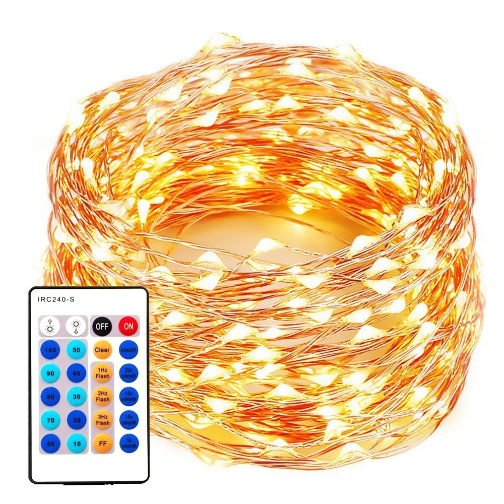 xtf2015 99FT 300LEDs String Lights, Waterproof Dimmable Decorative Fairy Lights with Remote Control, Christmas Lights with UL Listed for Bedroom, Patio, Wedding and Party, Christmas Tree, Warm White by XTF2015