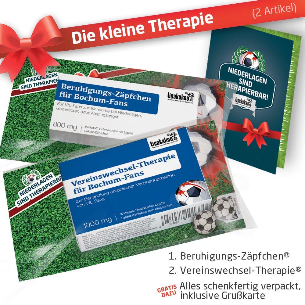 Geschenk-Set: Die Kleine Therapie für VFL Bochum-Fans | 2X süße Schmerzmittel für VFL Bochum 1848 Fans Fanartikel der Liga, Besser ALS Tasse, Kaffeepott, Becher & Fahne Ligakakao.de