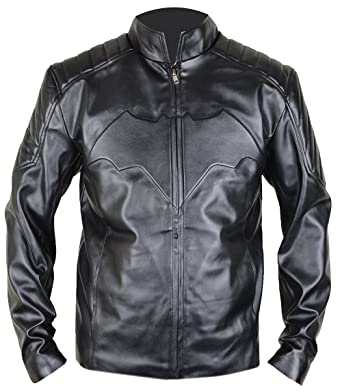 MSHC Batman Arkham Knight Black Leather Jacket With Bat Logo XXS