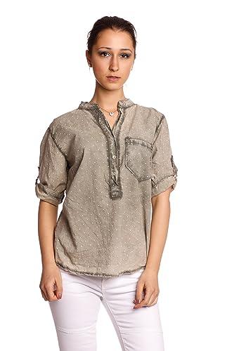 Abbino 83151 Blusas De Verano con Lunares Tops para Mujer - Hecho EN Italia - 6 Colores - Entretiemp...