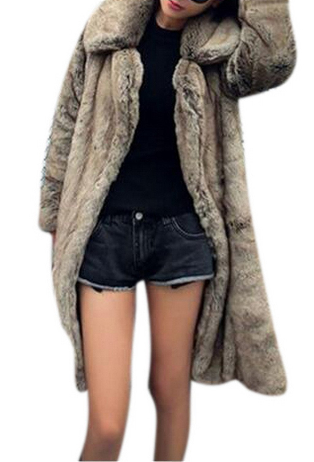 Women's Winter Warm Lapel Long Faux Fur Overcoat Jacket Coat Outerwear, Feature, US 6-8/Tag L