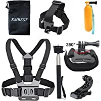 EMBEST Head Strap Mount + Adjustable Chest Strap Mount Harness+J-hook + Handle Monopod+ Wrist Strap + Floating Hand Grip Accessories Kit for AKASO EK7000 GoPro Hero 8/7/6/5/4/3+/3/2/1 GoPro Camera SJCAM APEMAN WiMiUS Rollei QUMOX Lightdow Campark Xiaomi YI 4K Sony Any Sports Action Camera