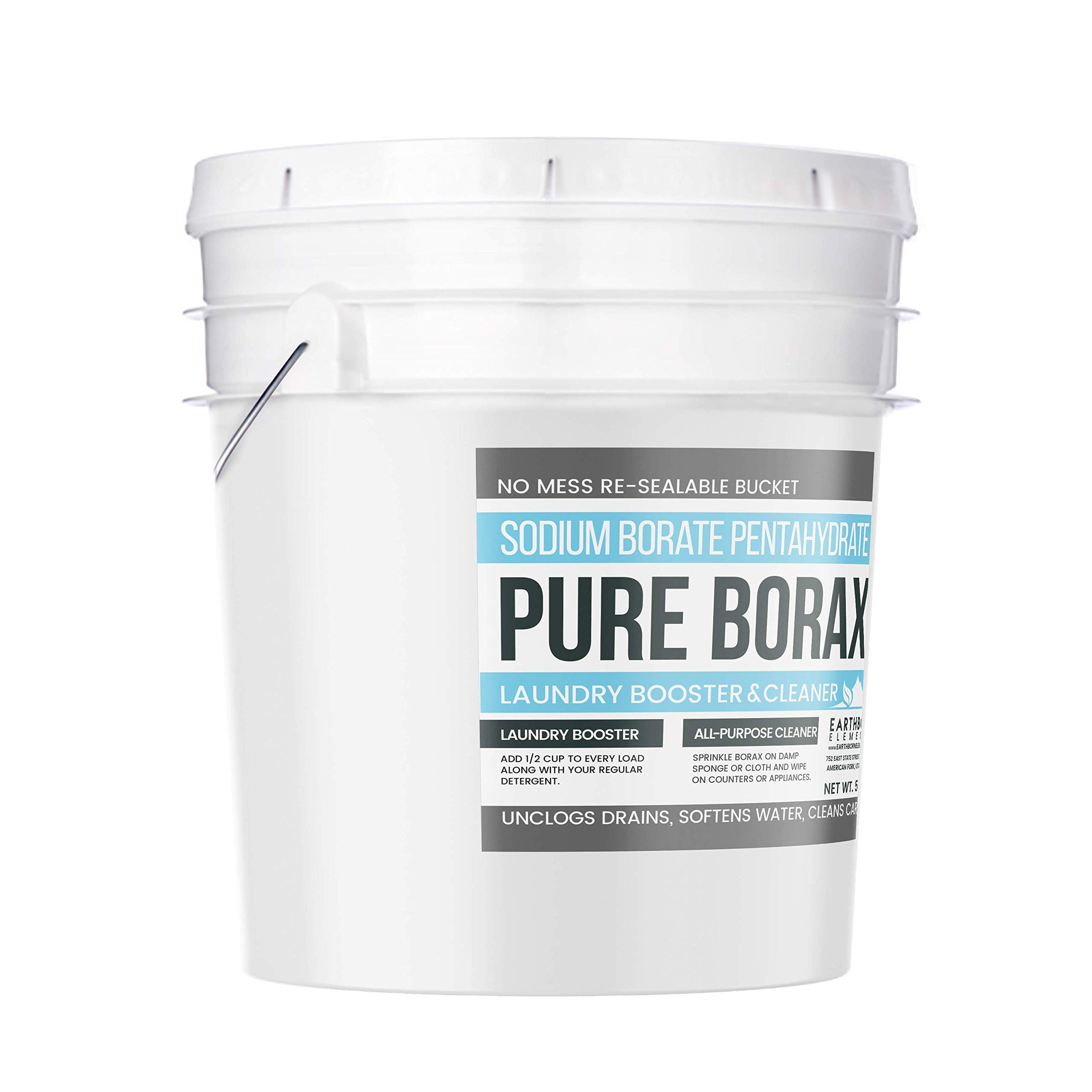 Borax Powder (5 Gallon (45 Lbs.)) by Earthborn Elements, Resealable Bucket, All-Natural Multipurpose Cleaner, Detergent Booster, and Slime Ingredient by Earthborn Elements (Image #2)