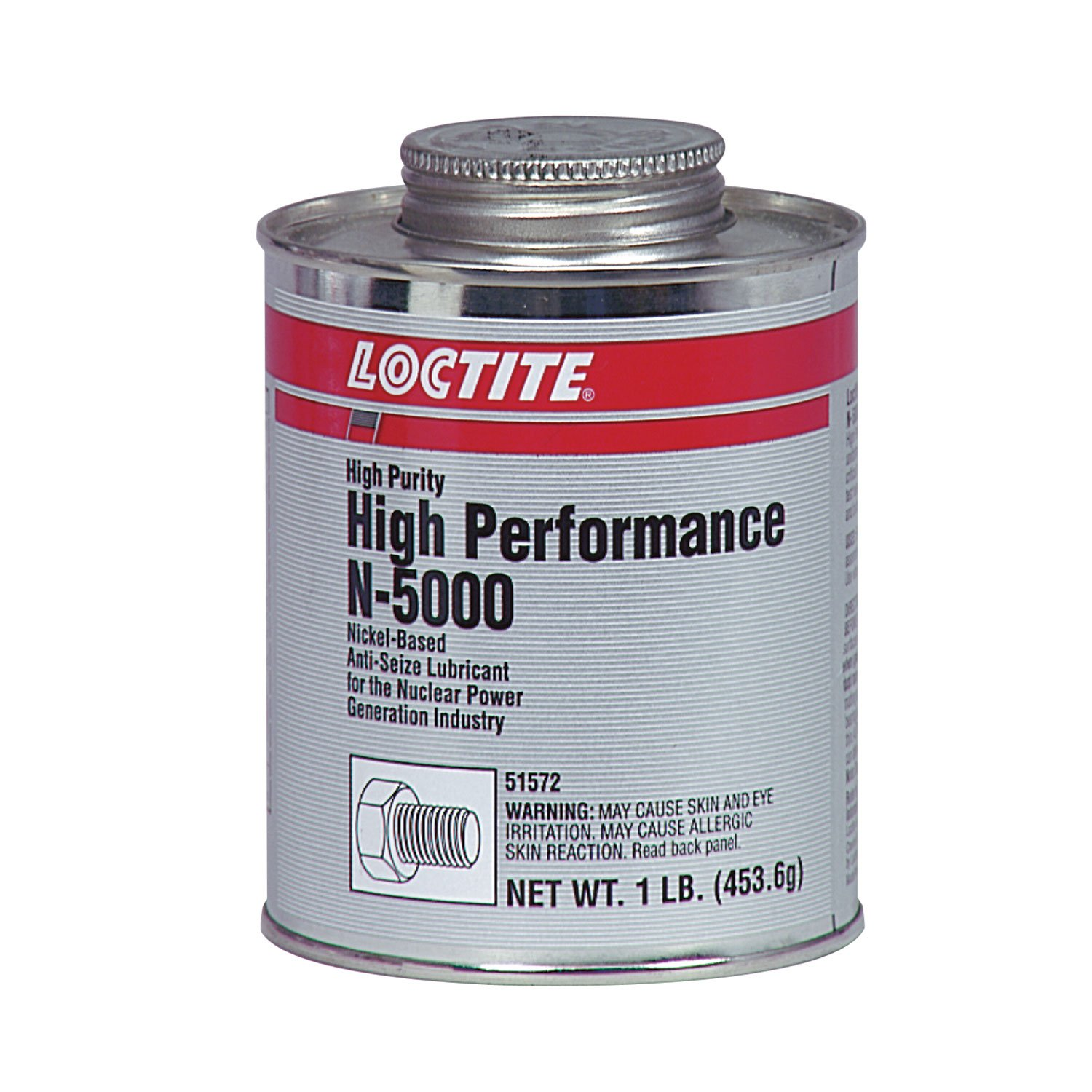 Loctite 51572 Silver N-5000 High-Performance High-Purity Anti-Seize Lubricant, -20 Degree F Lower Temperature Rating to 2400 Degree F Upper Temperature Rating, 1 lb. Brush Top Can