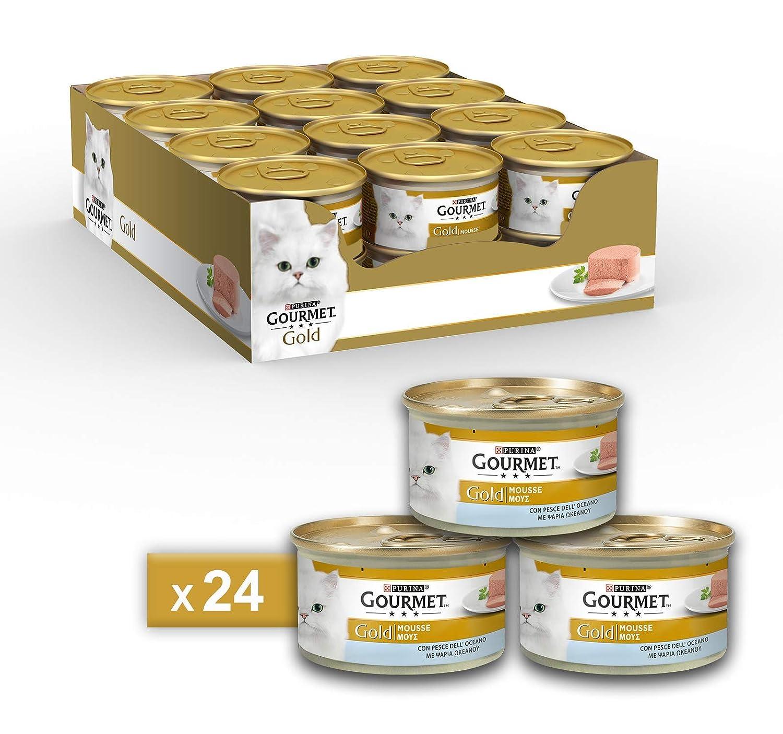 Gourmet Gold Mousse para El Gato, con Pescado Océano, 85 g – Pack de 24 Unidades