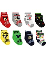 Mickey and Minnie Mouse Boys Girls 8 pack Socks (Baby/Toddler)