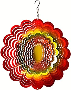 FONMY Wind Spinner Stainless Steel 3D Hanging Garden Decoration for Indoor Outdoor Rainbow Color Sunflower Wind Spinners-12inch