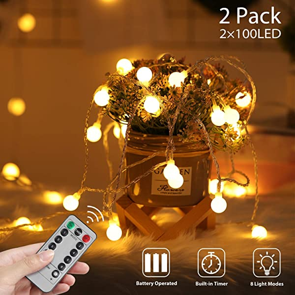 2 Pack Star String Lights for Bedroom,16 ft 50 LED Twinkle Lights,Battery Operated Indoor Fairy Lights for Patio Wedding Bedroom Tents Christmas Tree Decoration-Remote,Timer,8 Mode,Dimmable,Warm Wite