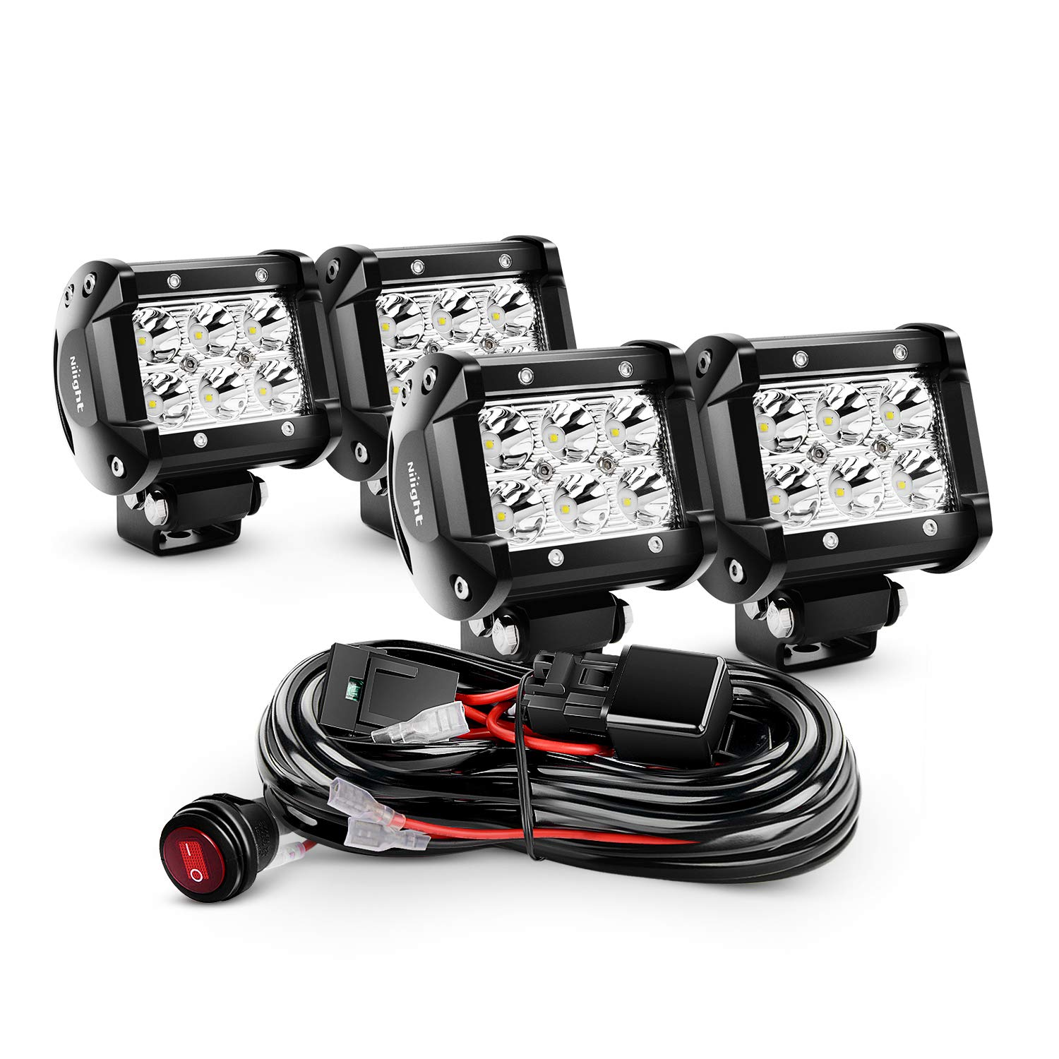 Nilight 4pcs 4 Inch 18w Spot Led Light Bars Work Sale 10pcs Universal Off Road Jeep Bar Wiring Harness Kit Lights Fog Driving With 2 Years