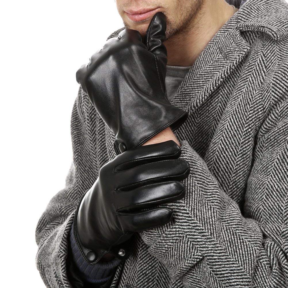 Guanti Invernali Uomo Guanti In Pelle Guanti Neri Ragazzo Moda Uomo Adulto Cald