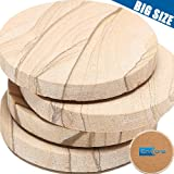 ENKORE Stone Coaster For Drinks Absorbent - Set of 4 Coasters, Natural Thirsty Absorbing Sandstone Body with Cork Backing No Holder, Oversize 4.1 inch Suits Large Mug & Wine Glass